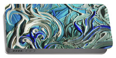 Blue Gray Acrylic Brush Strokes Abstract For Interior Decor IIi Portable Battery Charger