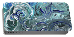 Blue Gray Brush Strokes Abstract Art For Interior Decor Iv Portable Battery Charger