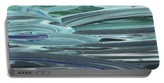 Blue Gray Brush Strokes Abstract Art For Interior Decor Vi Portable Battery Charger