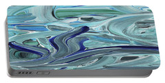 Blue Gray Brush Strokes Abstract Art For Interior Decor Vii Portable Battery Charger