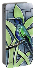Portable Battery Charger featuring the painting Blue Green Hummingbird by Dora Hathazi Mendes