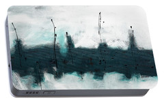 Portable Battery Charger featuring the painting Blue Harbour by Carmen Guedez
