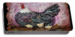 Blue Hen With Chicks Fresco Black Background Portable Battery Charger