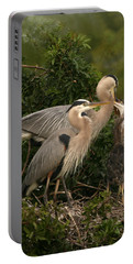 Portable Battery Charger featuring the photograph Blue Heron Family by Shari Jardina