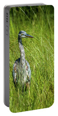 Portable Battery Charger featuring the photograph Blue Heron In A Marsh by Paul Freidlund
