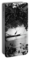 Blue Heron In Black And White. Portable Battery Charger