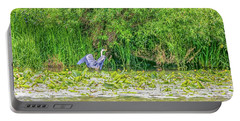 Portable Battery Charger featuring the photograph Blue Heron Landing May 2016.  by Leif Sohlman