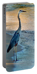 Blue Heron On The Beach Close Up Portable Battery Charger