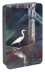 Portable Battery Charger featuring the painting Blue Heron- Outer Banks by Ryan Fox