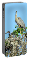 Portable Battery Charger featuring the photograph Blue Heron Series Baby 2 by Deborah Benoit