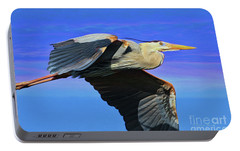 Portable Battery Charger featuring the painting Blue Heron Series Fly by Deborah Benoit