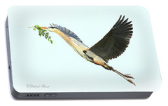 Portable Battery Charger featuring the photograph Blue Heron Series Twig 2017 by Deborah Benoit