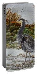 Portable Battery Charger featuring the painting Blue Heron by Sher Nasser