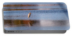 Blue Heron Standing In A Pond At Sunset Portable Battery Charger