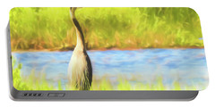 Blue Heron Standing Tall And Alert Portable Battery Charger