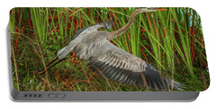 Blue Heron Take-off Portable Battery Charger by Tom Claud