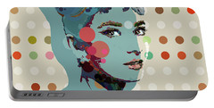 Blue Holly - Audrey Hepburn Spot Painting Portable Battery Charger by Big Fat Arts