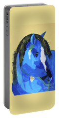 Portable Battery Charger featuring the painting Blue Horse 2 by Donald J Ryker III