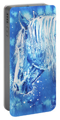 Portable Battery Charger featuring the painting Blue Horse by Zaira Dzhaubaeva