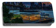 Portable Battery Charger featuring the photograph Blue Hour At Brooklyn Bridge Park by Chris Lord