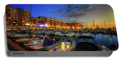 Portable Battery Charger featuring the photograph Blue Hour At Port Nice 1.0 by Yhun Suarez