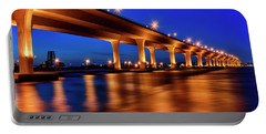 Blue Hour At Roosevelt Bridge In Stuart Florida  Portable Battery Charger by Justin Kelefas