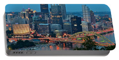 Blue Hour In Pittsburgh Portable Battery Charger by Frozen in Time Fine Art Photography