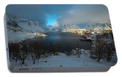 Portable Battery Charger featuring the photograph Blue Hour Over Reine by Dubi Roman