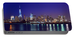 Blue Hour Panorama New York World Trade Center With Freedom Tower From Liberty State Park Portable Battery Charger