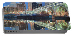 Portable Battery Charger featuring the photograph Blue Hour Square by Frozen in Time Fine Art Photography