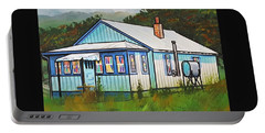 Blue House With Quilted Windows Portable Battery Charger by Jim Harris