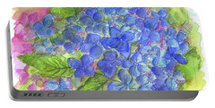 Portable Battery Charger featuring the painting Blue Hydrangea by Cathie Richardson