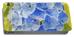 Blue Hydrangea Stained Glass Look Portable Battery Charger