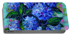 Blue Hydrangeas - Abstract Floral Composition Portable Battery Charger