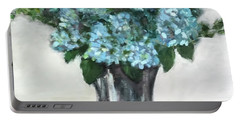 Blue Hydrangea's In Silver Vase Portable Battery Charger