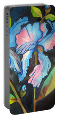 Portable Battery Charger featuring the painting Blue Iris by Lil Taylor