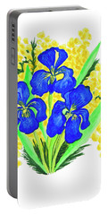 Blue Irises And Mimosa Portable Battery Charger