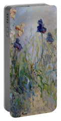Blue Irises In The Field, Painted In The Open Air  Portable Battery Charger