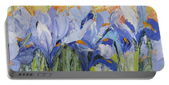 Blue Irises Palette Knife Painting Portable Battery Charger