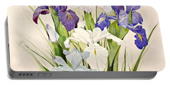 Blue Irises-posthumously Presented Paintings Of Sachi Spohn  Portable Battery Charger