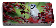 Blue Jay In The Plum Tree Portable Battery Charger