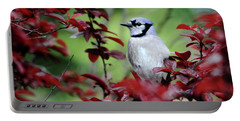 Blue Jay In The Plum Tree Portable Battery Charger by Trina Ansel