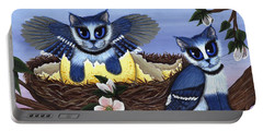 Portable Battery Charger featuring the painting Blue Jay Kittens by Carrie Hawks
