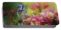 Blue Jay On A Blooming Tree Portable Battery Charger by Eva Lechner