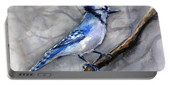 Blue Jay Watercolor Portable Battery Charger