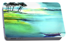 Portable Battery Charger featuring the painting Blue Lagoon by Anil Nene