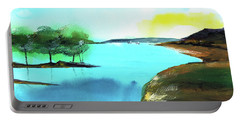 Portable Battery Charger featuring the painting Blue Lake by Anil Nene