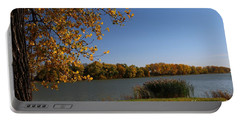 Blue Lake In Fall Portable Battery Charger by Yumi Johnson