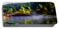 Blue Lake Spring Misty Geese  Portable Battery Charger