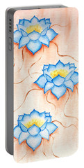 Portable Battery Charger featuring the painting Blue Lilies by Elizabeth Lock